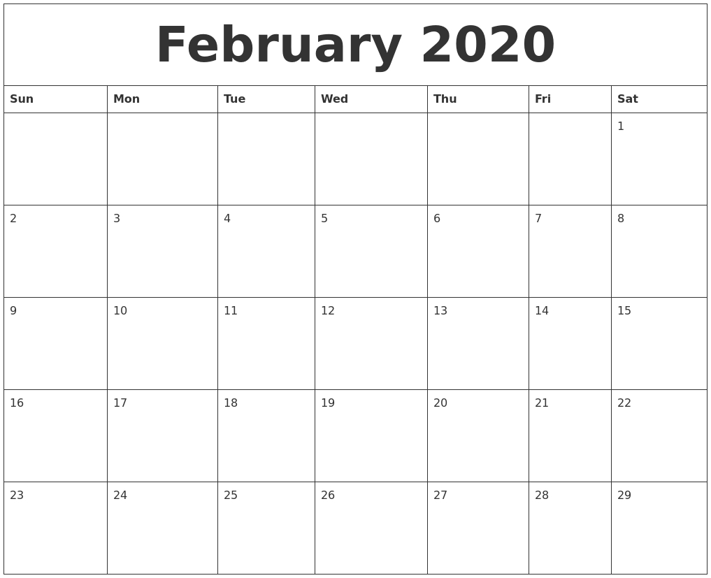 February 2020 Large Printable Calendar-Blank Printable Calendar 2020 Monthly