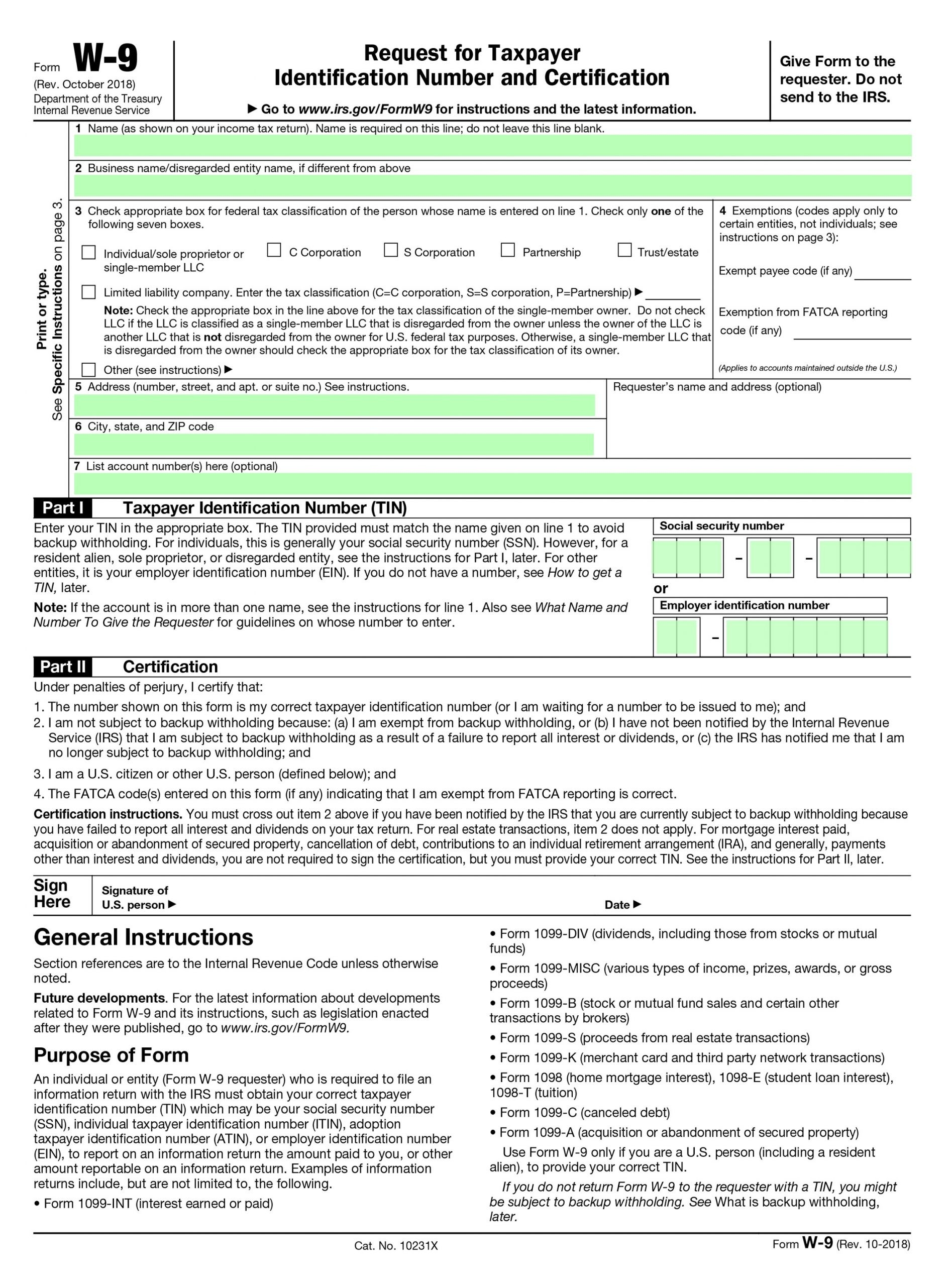 Filling Irs Form W-9 – Editable, Printable Blank | Fill Out-Blank Printable W9 Form