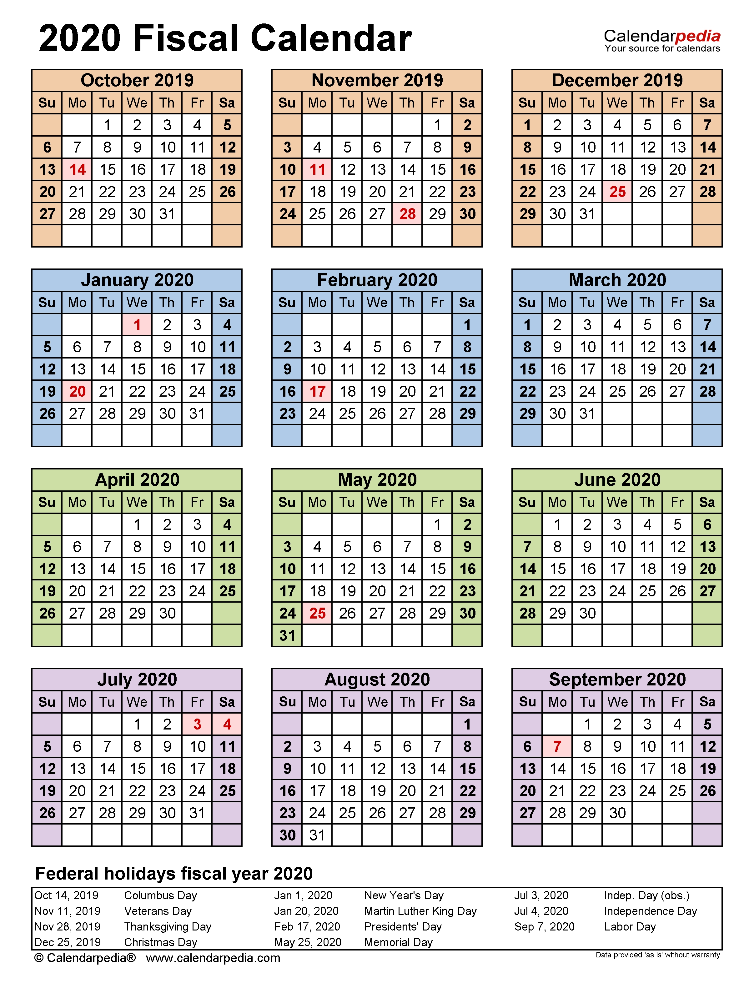 Fiscal Calendars 2020 - Free Printable Excel Templates-Payroll Calendar Template 2020