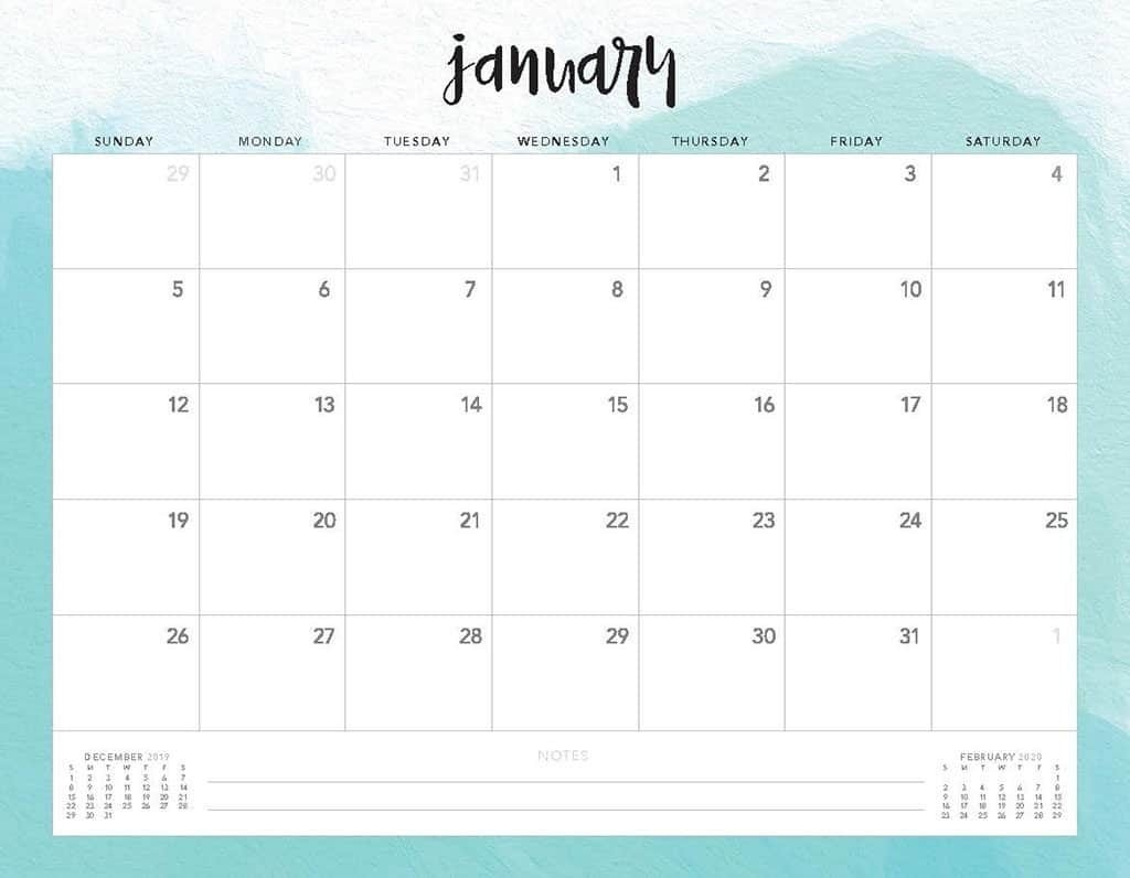 Free 2020 Printable Calendars - 51 Designs To Choose From!-Pretty Monthly Calendar 2020/2020