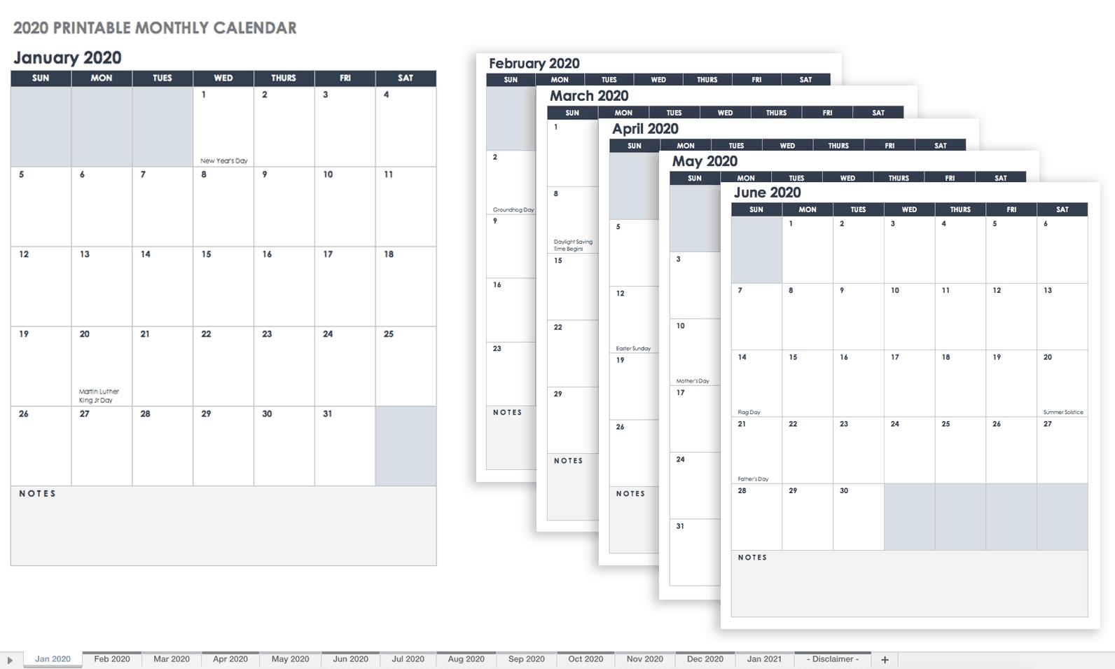 Free Blank Calendar Templates - Smartsheet-Blank Calendar Grid Printable