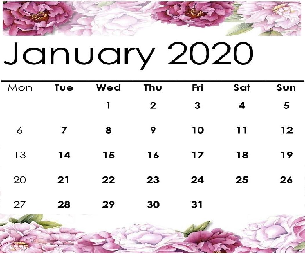 Free Cute January 2020 Calendar Printable | 12 Month-Pretty Monthly Calendar 2020/2020