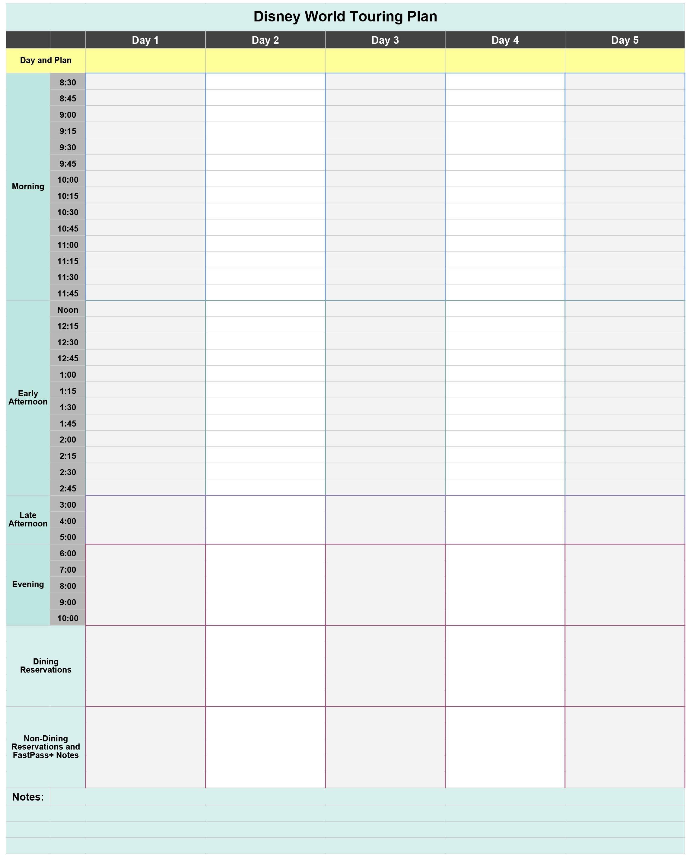 Free Disney World Touring Plan Spreadsheet - Wit & Wander-Disney World Touring Template Download