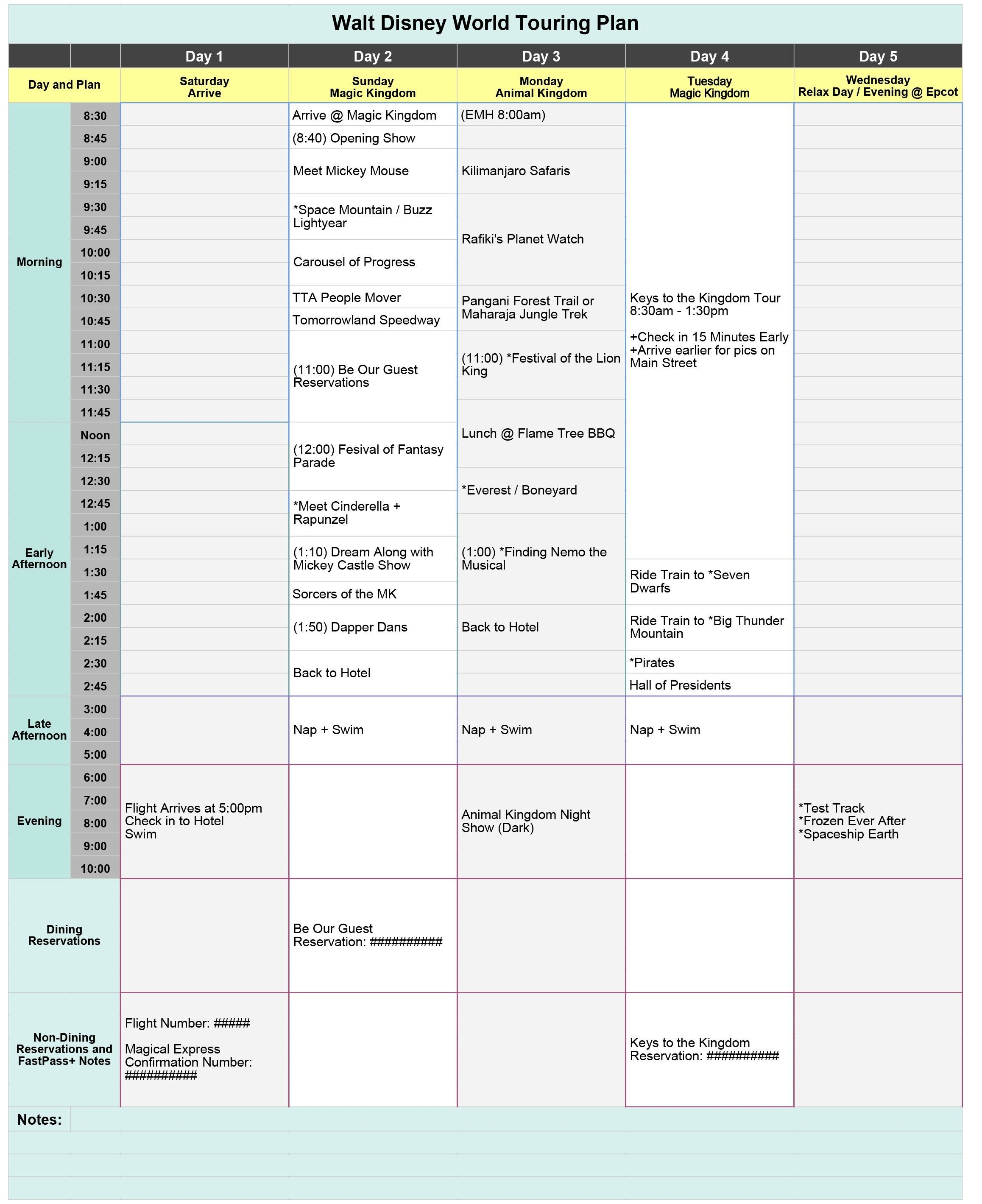Free Disney World Touring Plan Spreadsheet - Wit & Wander-Disney World Touring Template Download