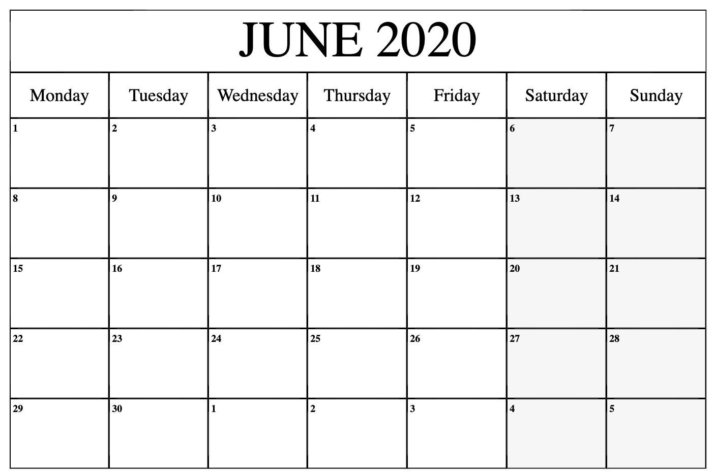 Free Editable June 2020 Calendar To Print Pdf Word Blank-Blank June Calendar Template 2020
