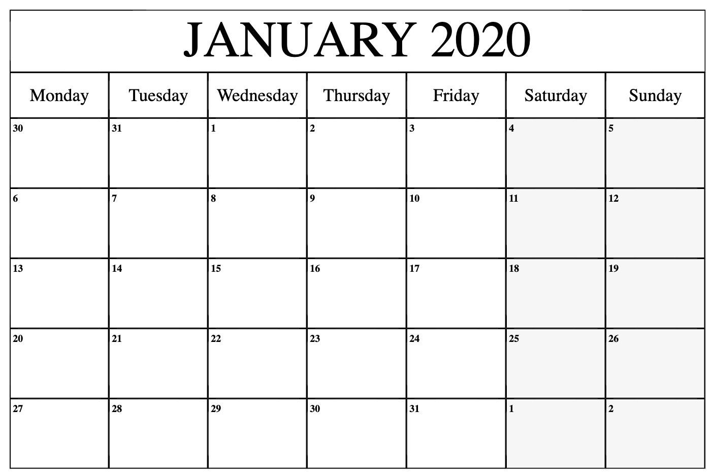 Free January 2020 Calendar Printable Template Pdf, Word-Monthly Calendar Monday To Friday
