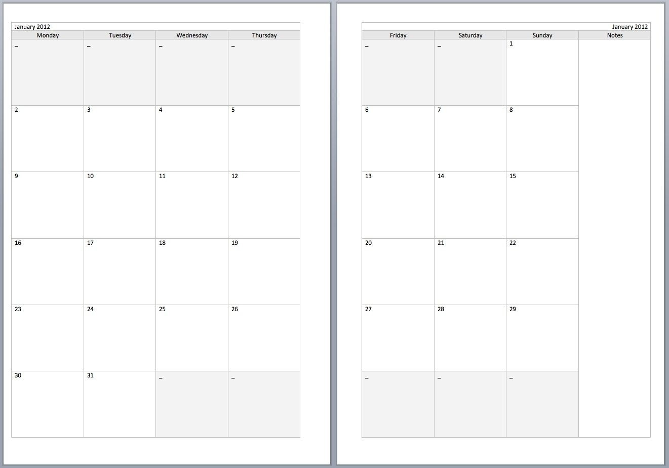 Free Monthly Filofax Diary Templates For A5 And Personal-Free Two Page Blank Printable Calendar