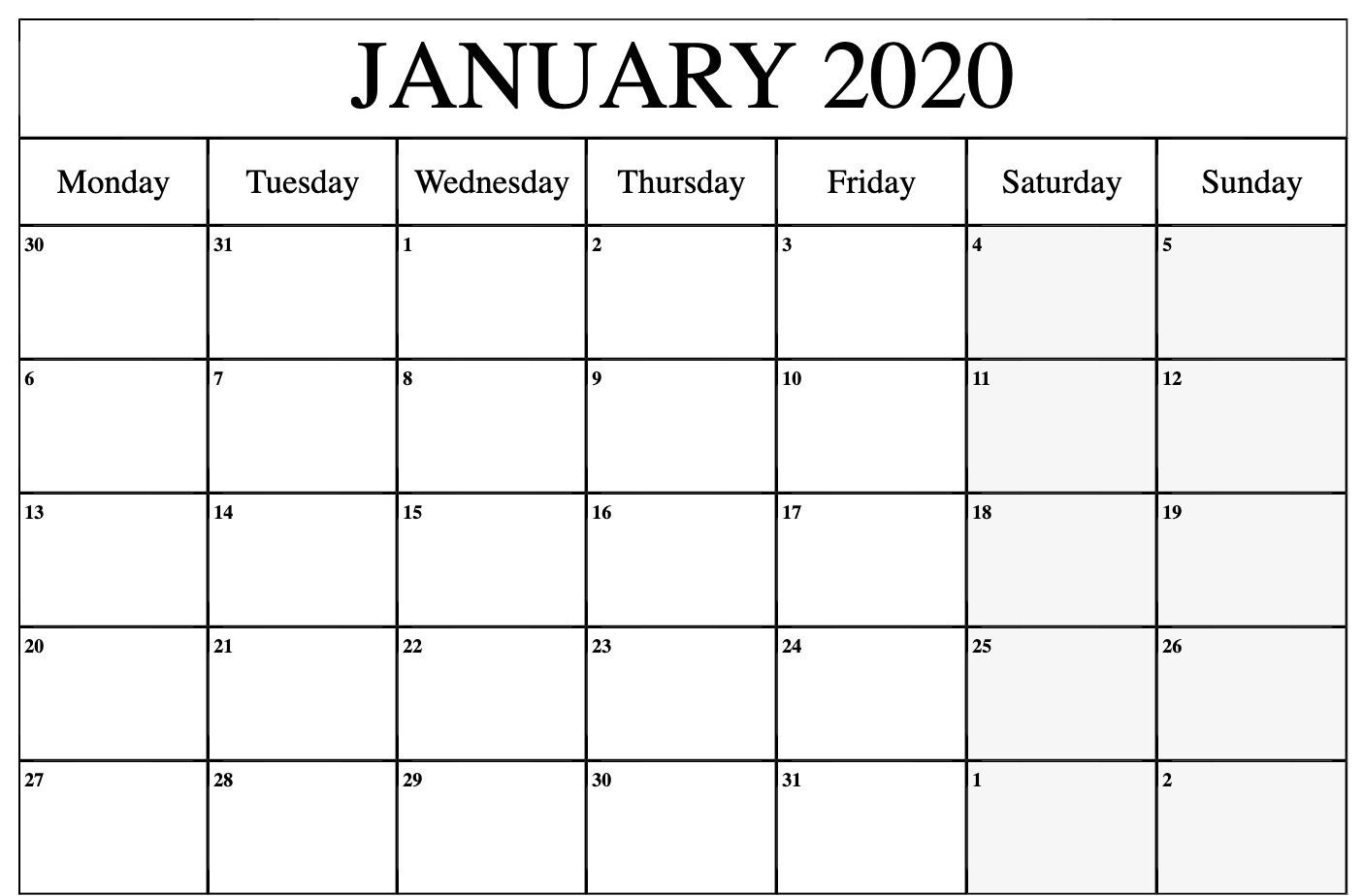 Free Monthly January 2020 Calendar Word Excel Landscape-Monday To Friday Printable Monthly Calendar