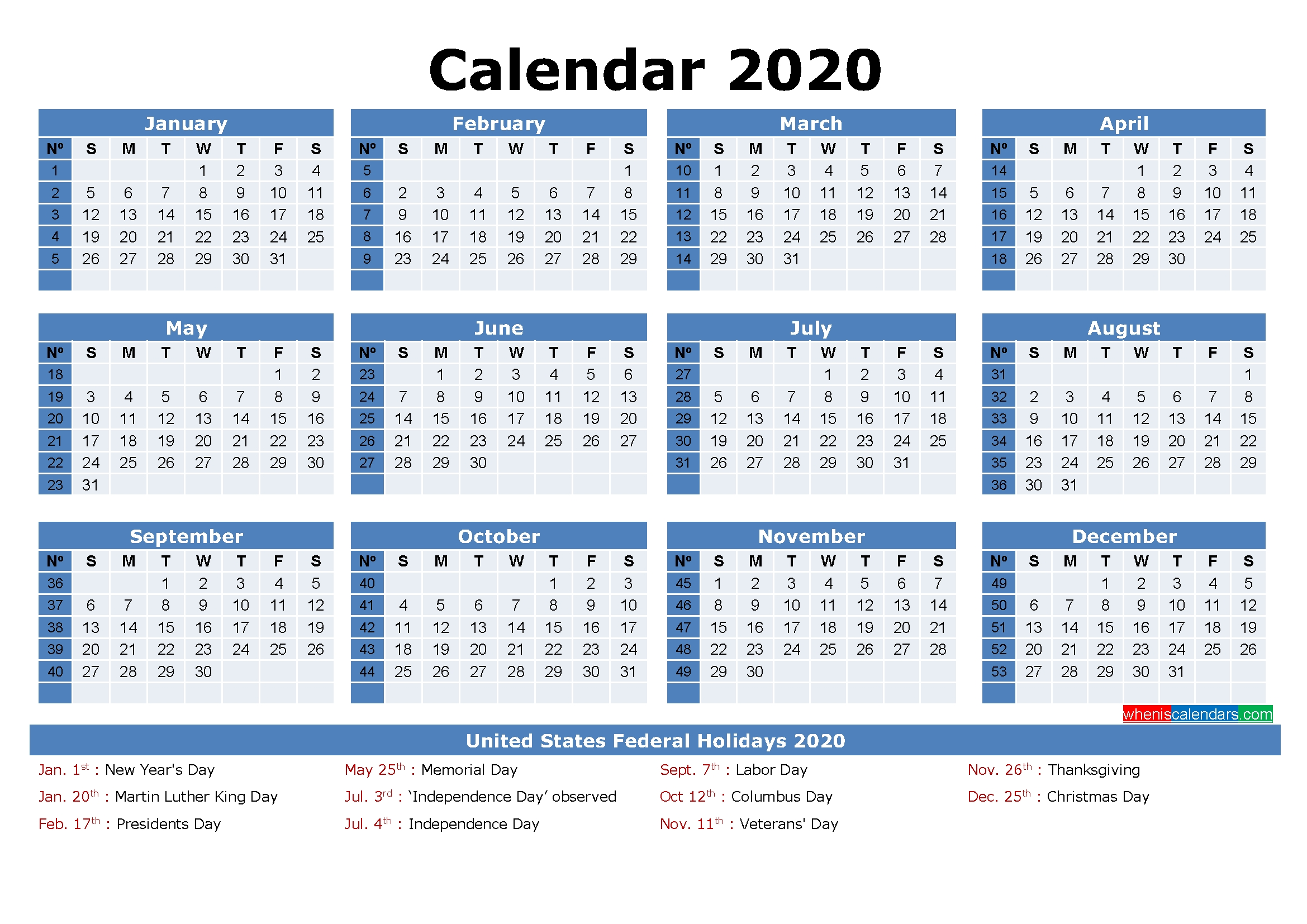 Free Printable 2020 Monthly Calendar With Holidays-Monthly Calendar With Julian Dates 2020
