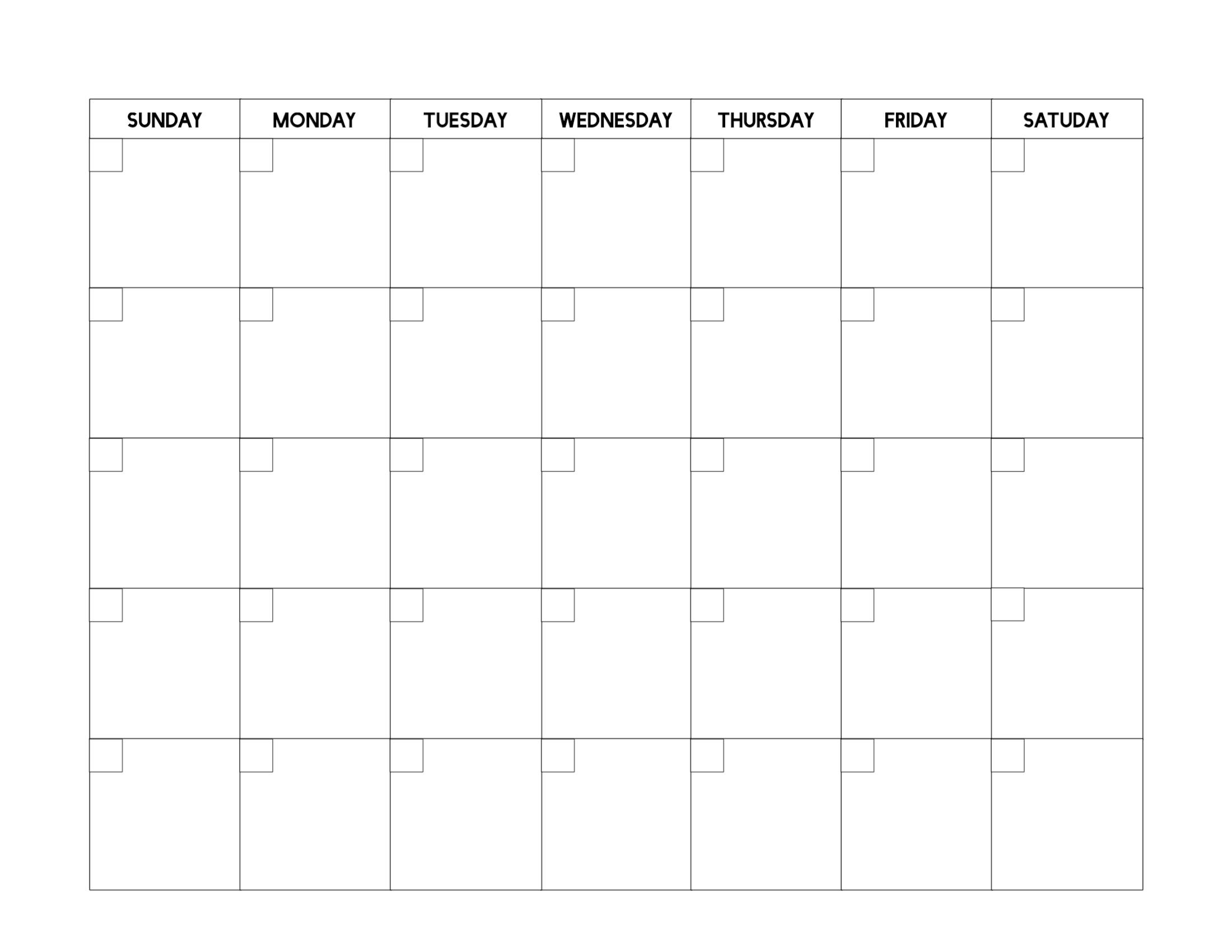 Free Printable Blank Calendar Template - Paper Trail Design-Blank Calendar Template No Dates