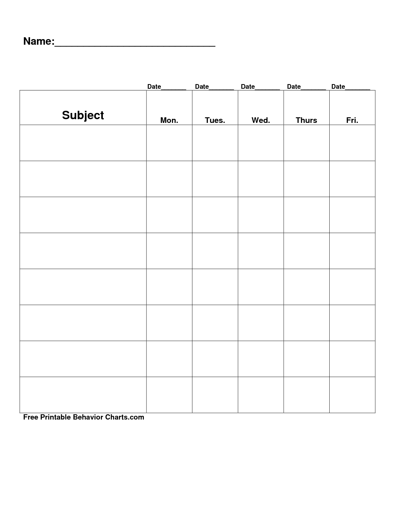 Free Printable Blank Charts | Free Printable Behavior Charts-Monthly Behavior Charts Printable
