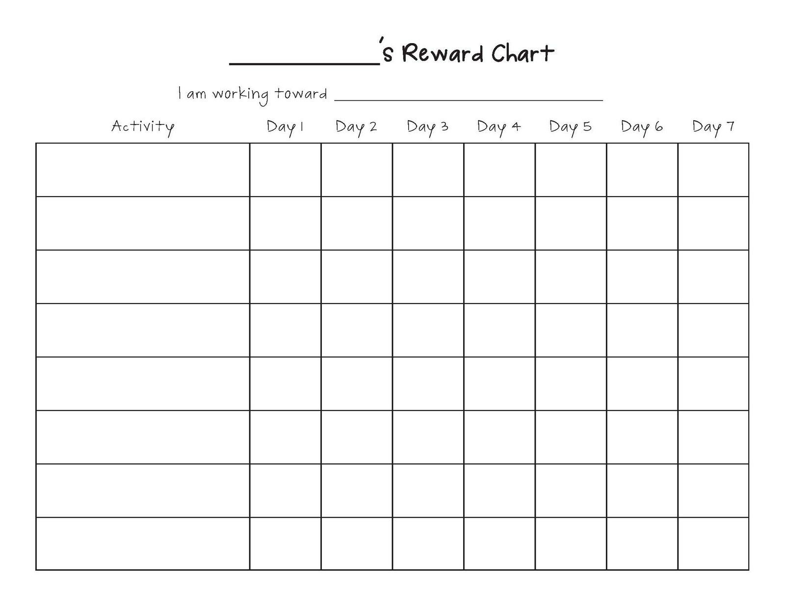 Free Printable Blank Charts - Remar-Monthly Behavior Charts Printable