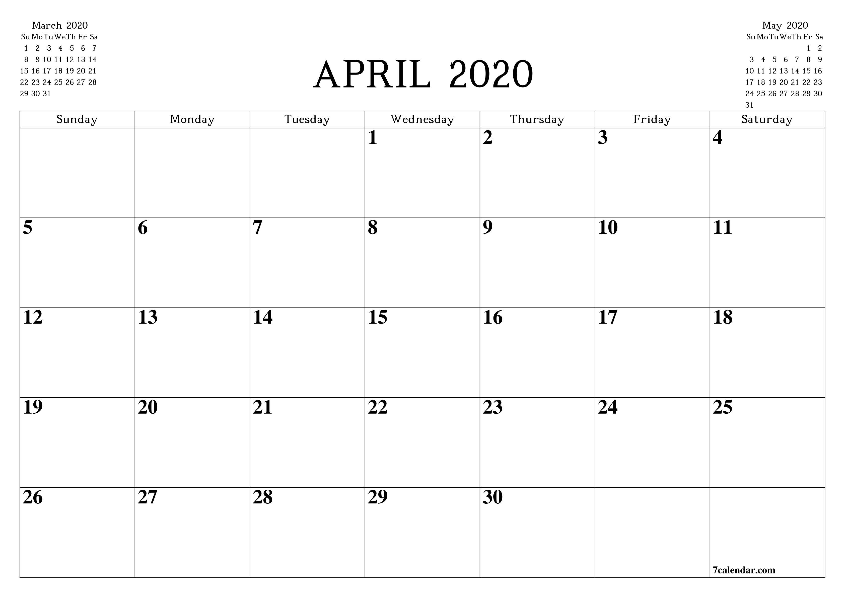 Free Printable Blank Monthly Calendar And Planner For April-Free Blank Printable Monthly Calendar Monday - Friday