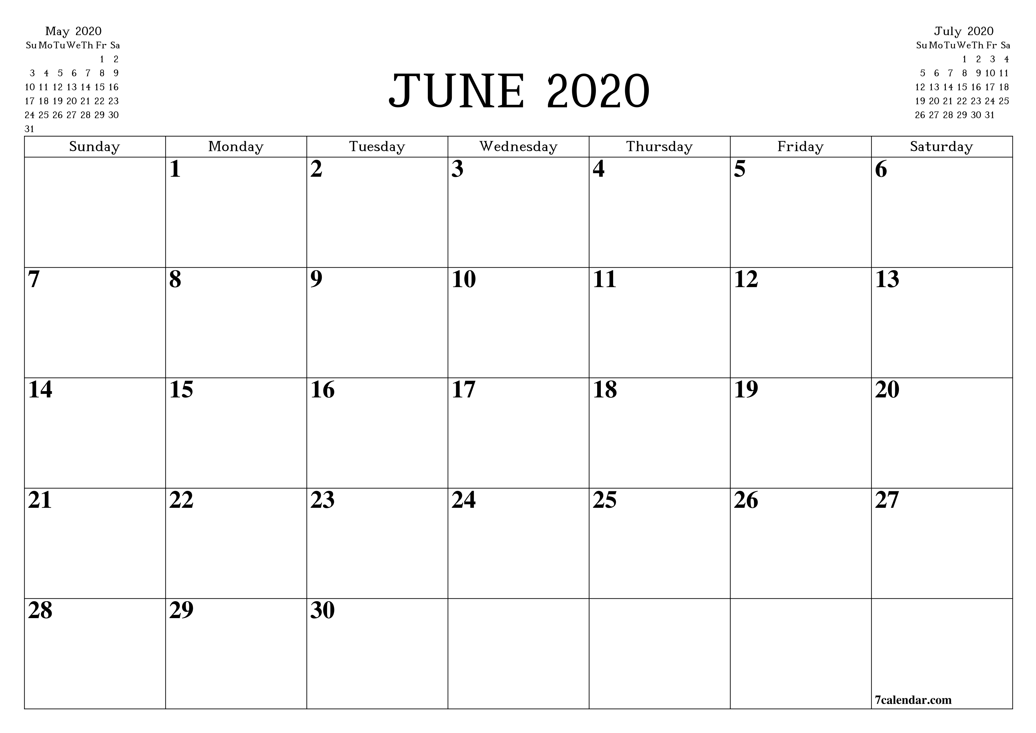 Free Printable Blank Monthly Calendar And Planner For June-Blank Printable Calendar 2020 Monthly