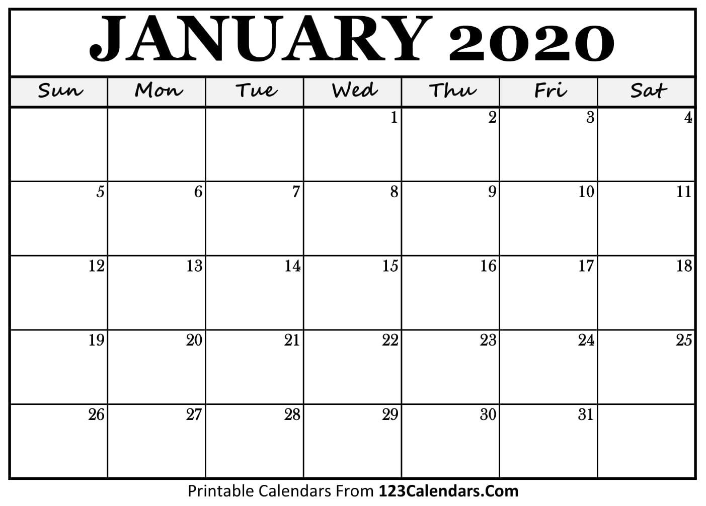 Free Printable Calendar | 123Calendars-Blank Printable Calendar 2020 Monthly
