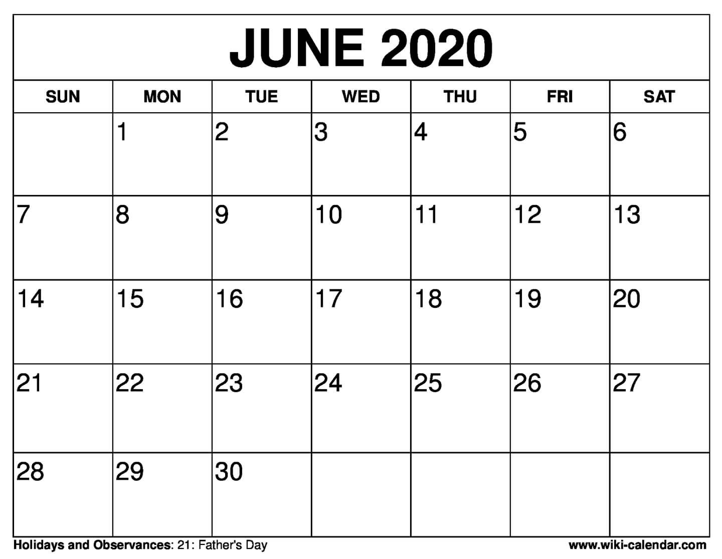 Free Printable June 2020 Calendars-Blank June Calendar Template 2020