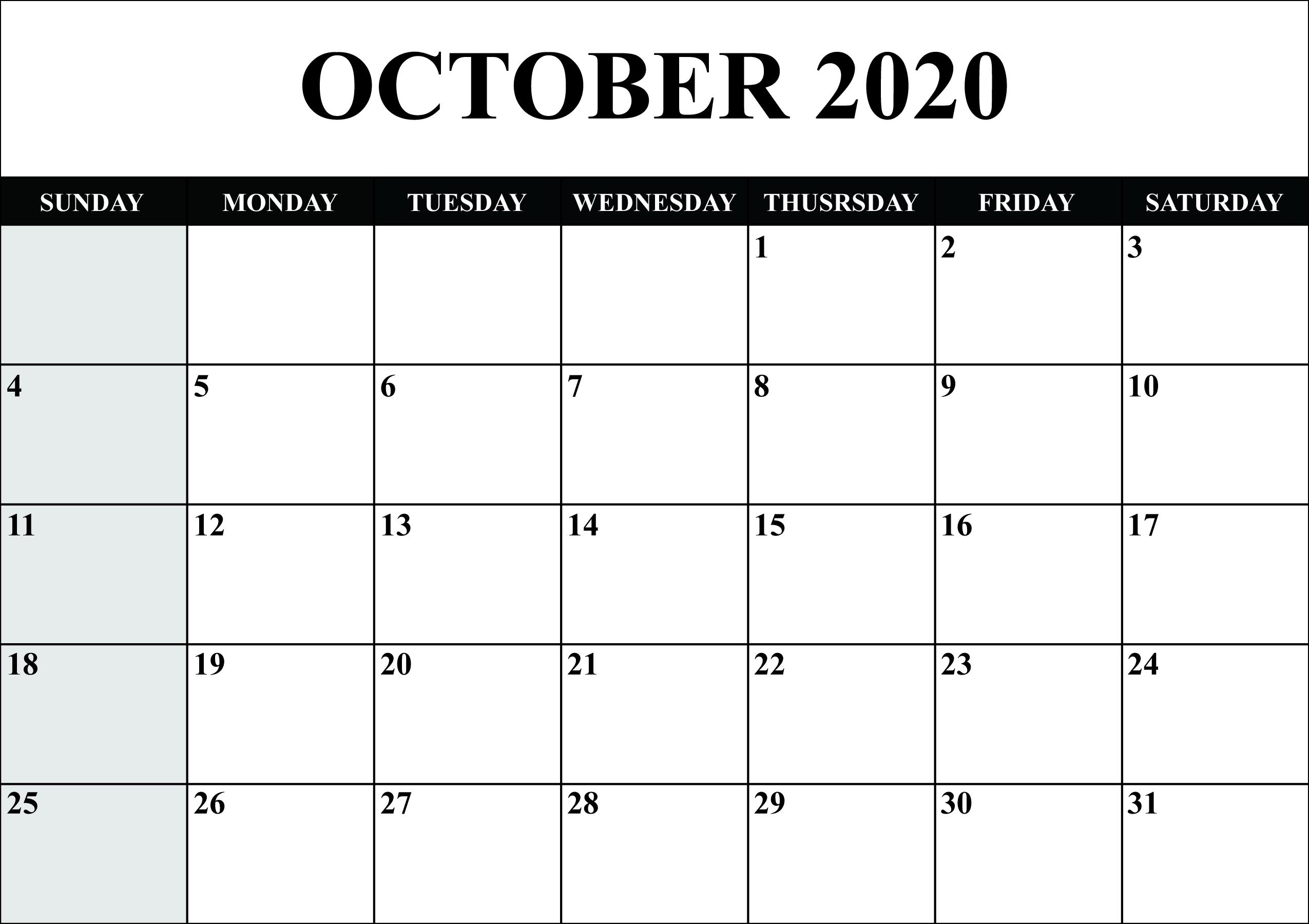 Free Printable October 2020 Calendar Template - Pdf, Word-Blank Printable Calendar 2020 Monthly