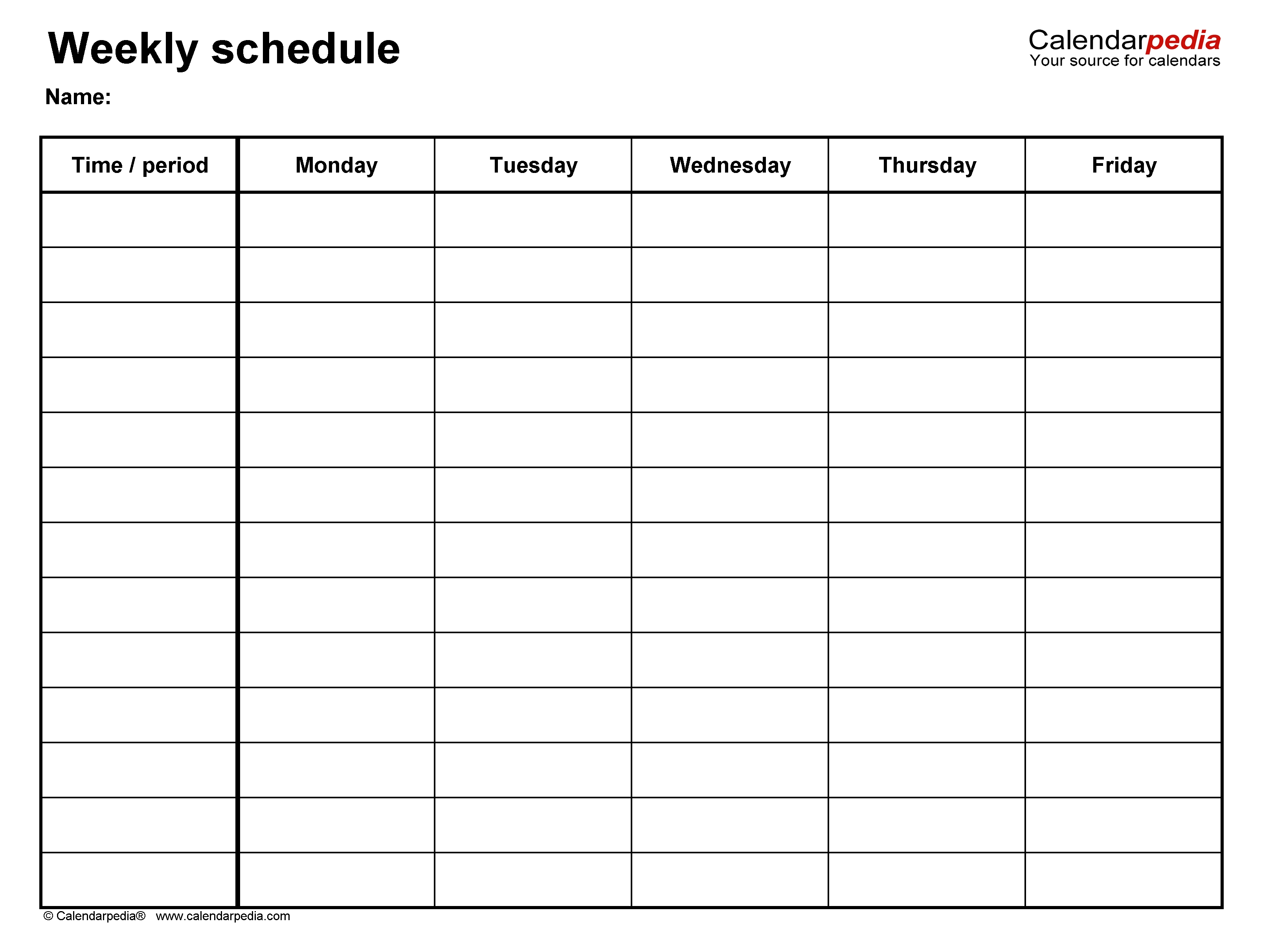Free Weekly Schedule Templates For Word - 18 Templates-Free Blank Printable Monthly Calendar Monday - Friday