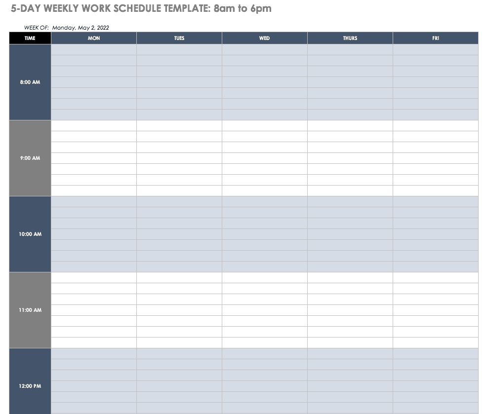 Free Work Schedule Templates For Word And Excel |Smartsheet-Schedule Biweekly Templates Free Printable