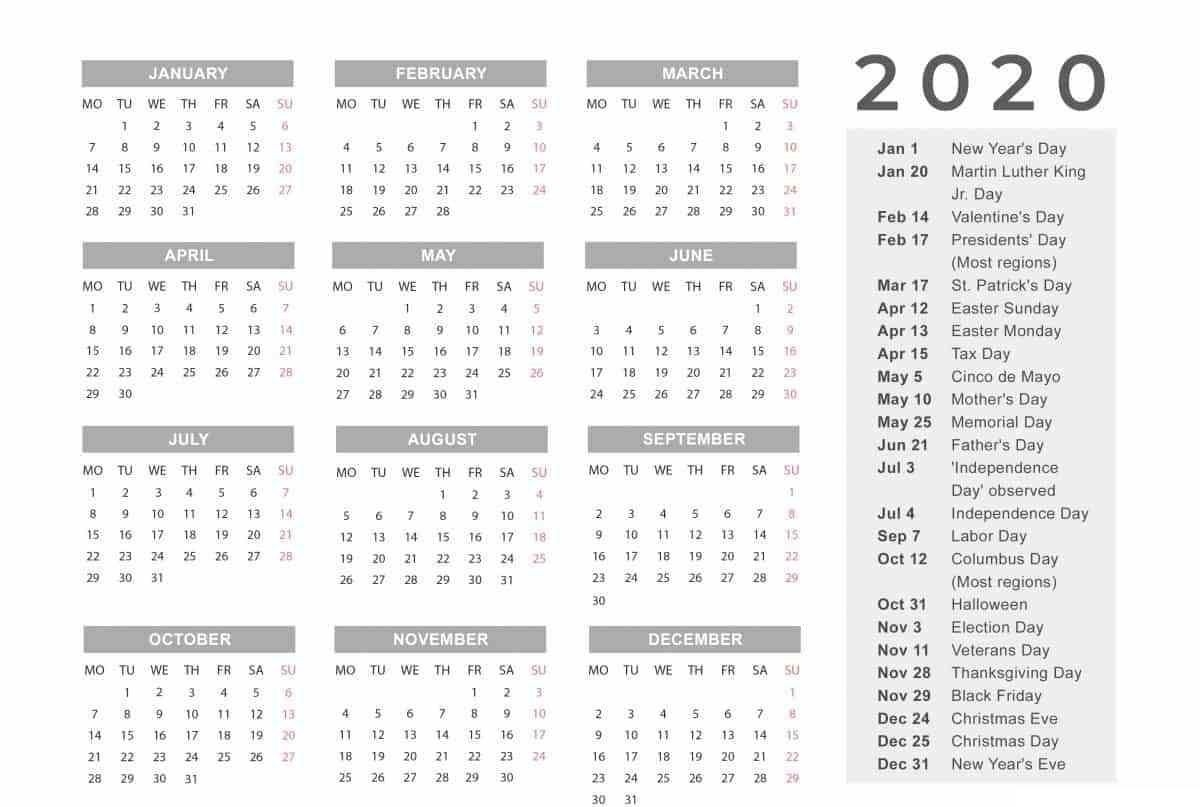 Free Yearly 12 Month Calendar One Page Template Printable-Payroll Calendar Template 2020