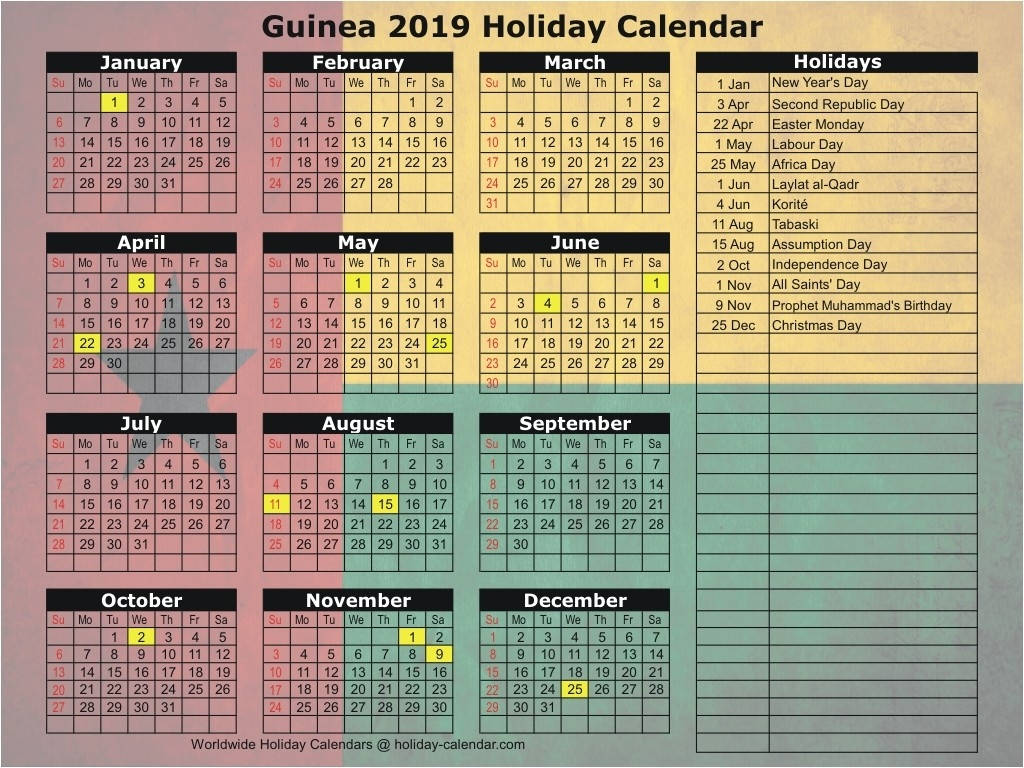 Guinea 2019 / 2020 Holiday Calendar-Calender With Public Holidays