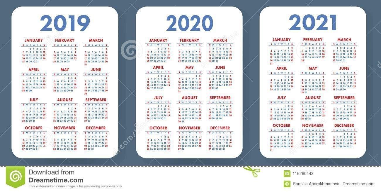 Illustration About Pocket Calendar 2019, 2020, 2021 Set-2 Year Pocket Calendar Template