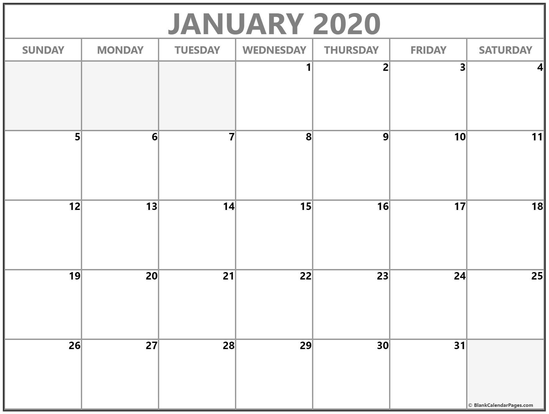January 2020 Calendar | Free Printable Monthly Calendars-January Thru December 2020 Printable Monthly Calendar