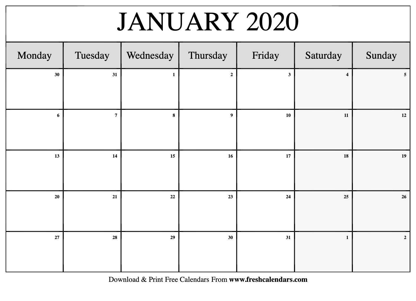 January 2020 Calendar Printable-2020 Blank Calendar Starting-Monthly Calendar Template 2020 Printable Blank Starting Monday