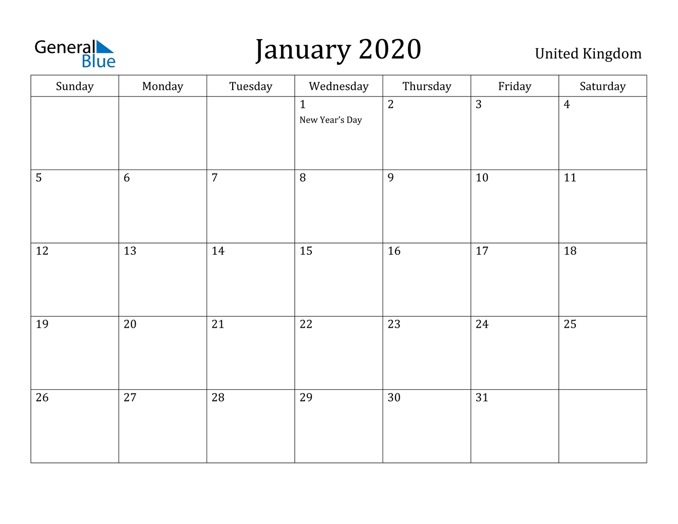 January 2020 Calendar - United Kingdom-2020 Uk Monthly Calendar Uk