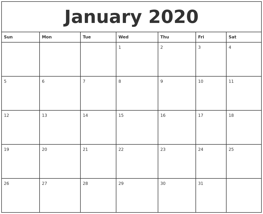 January 2020 Printable Monthly Calendar-Monday To Friday Printable Monthly Calendar