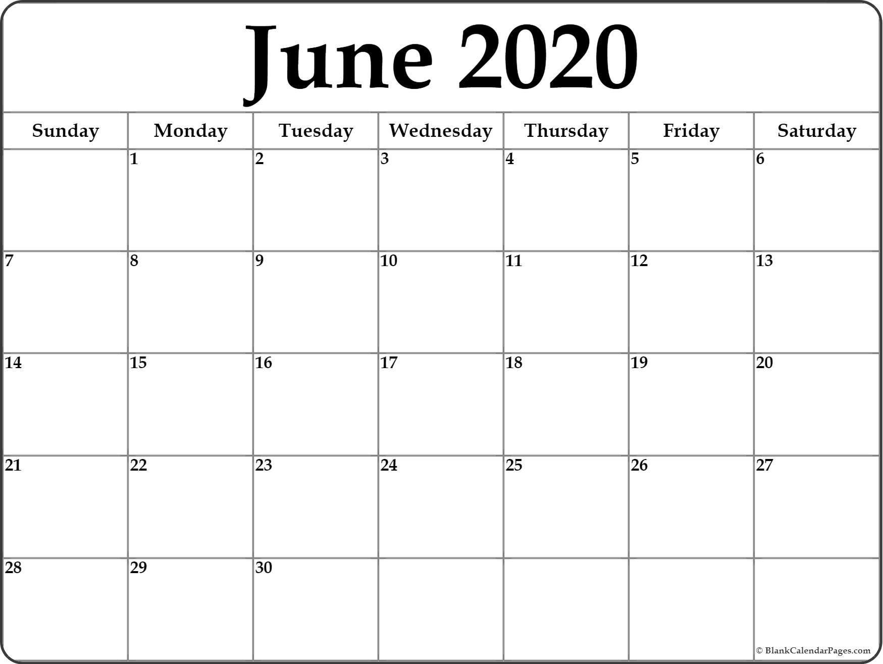 June 2020 Calendar | Free Printable Monthly Calendars-July 2020 Large Claendar Template