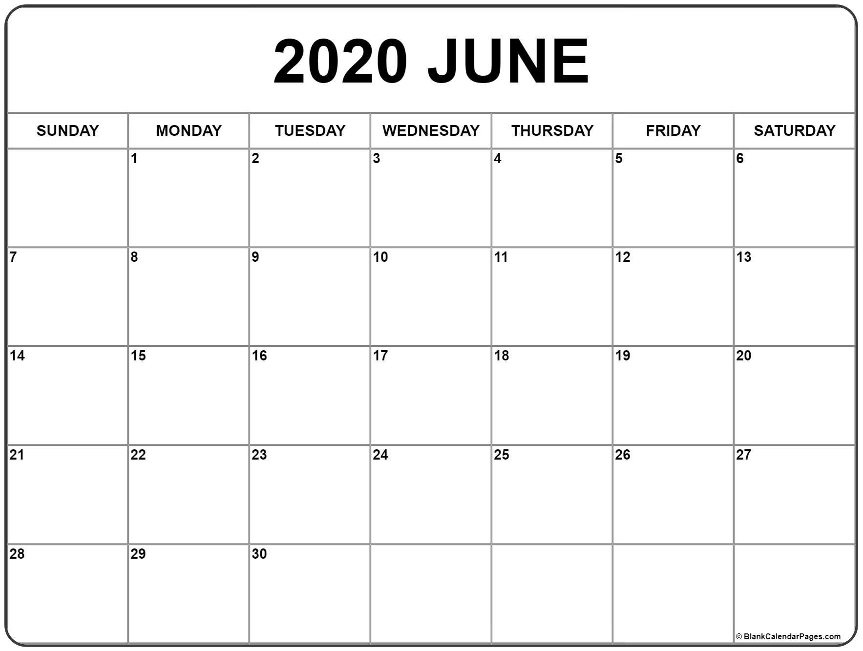 June 2020 Calendar | Free Printable Monthly Calendars-Monthly Calendar Template 2020 Printable Blank Starting Monday