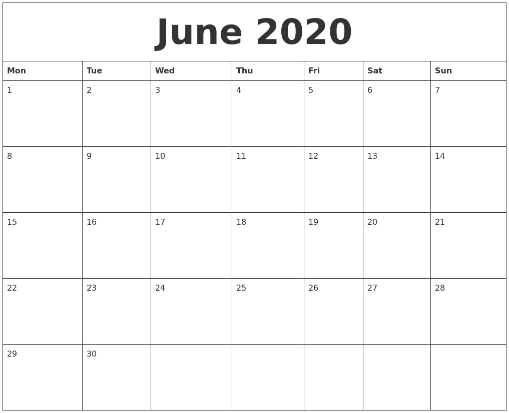 June 2020 Large Printable Calendar-July 2020 Large Claendar Template
