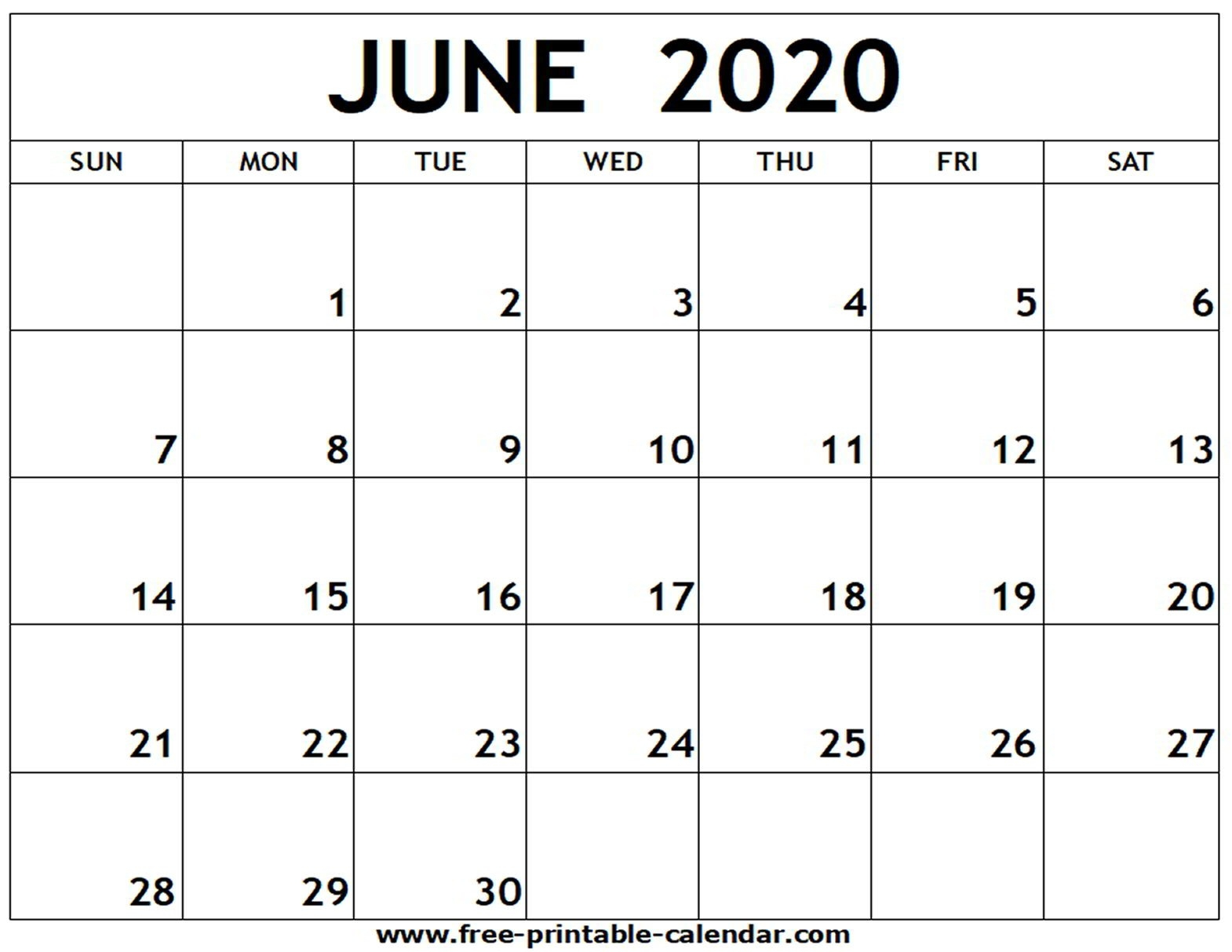 June 2020 Printable Calendar - Free-Printable-Calendar-Blank June Calendar Template 2020