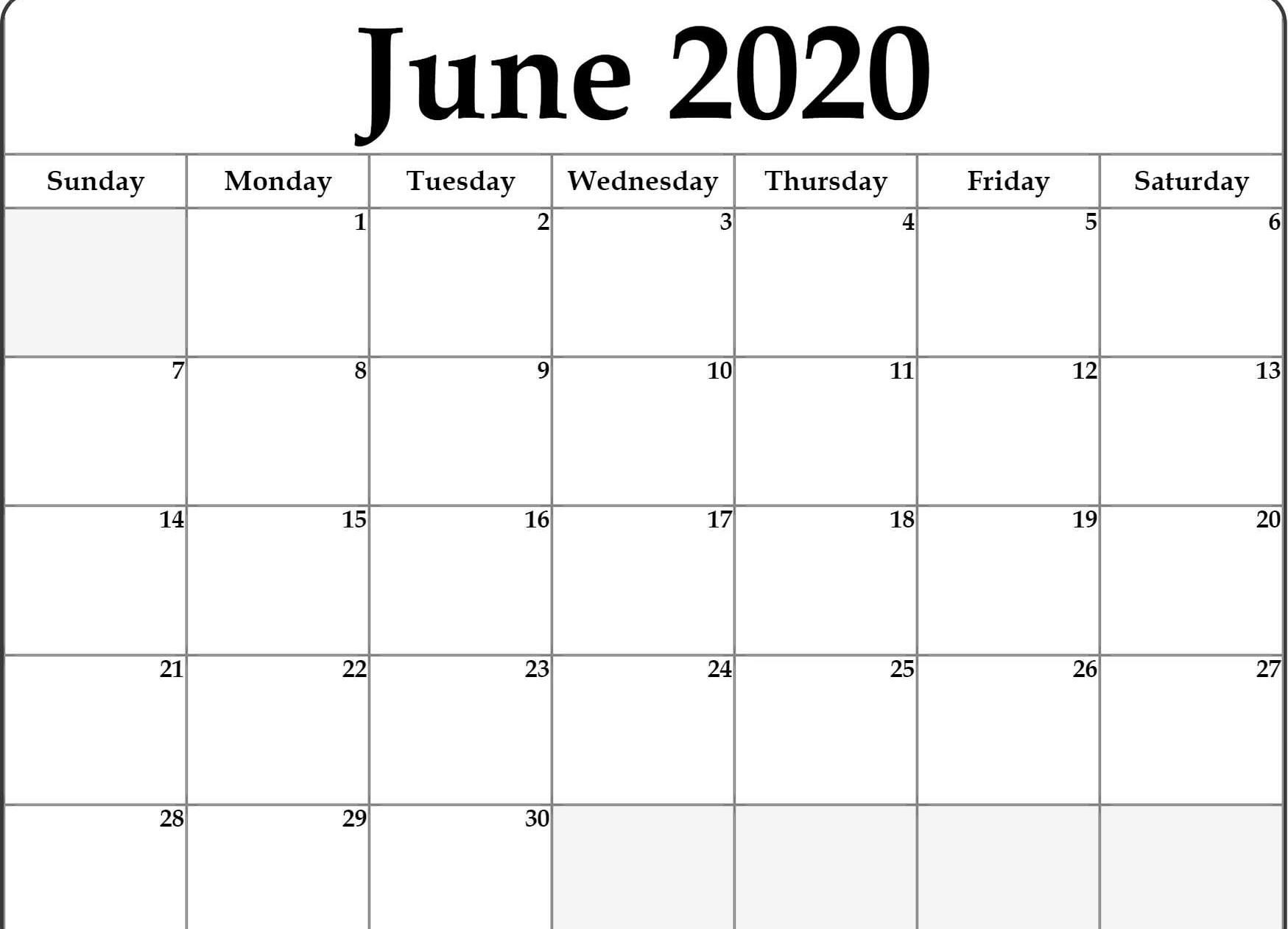 June Calendar 2020 Free Printable Template Pdf Word Excel-Blank June Calendar Template 2020