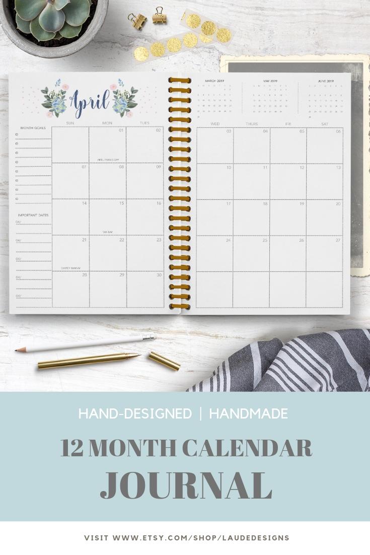 Magnolia Calendar Journal / 2019 Calendar / Notebook / Lined-Notebook With Monthly Calendar