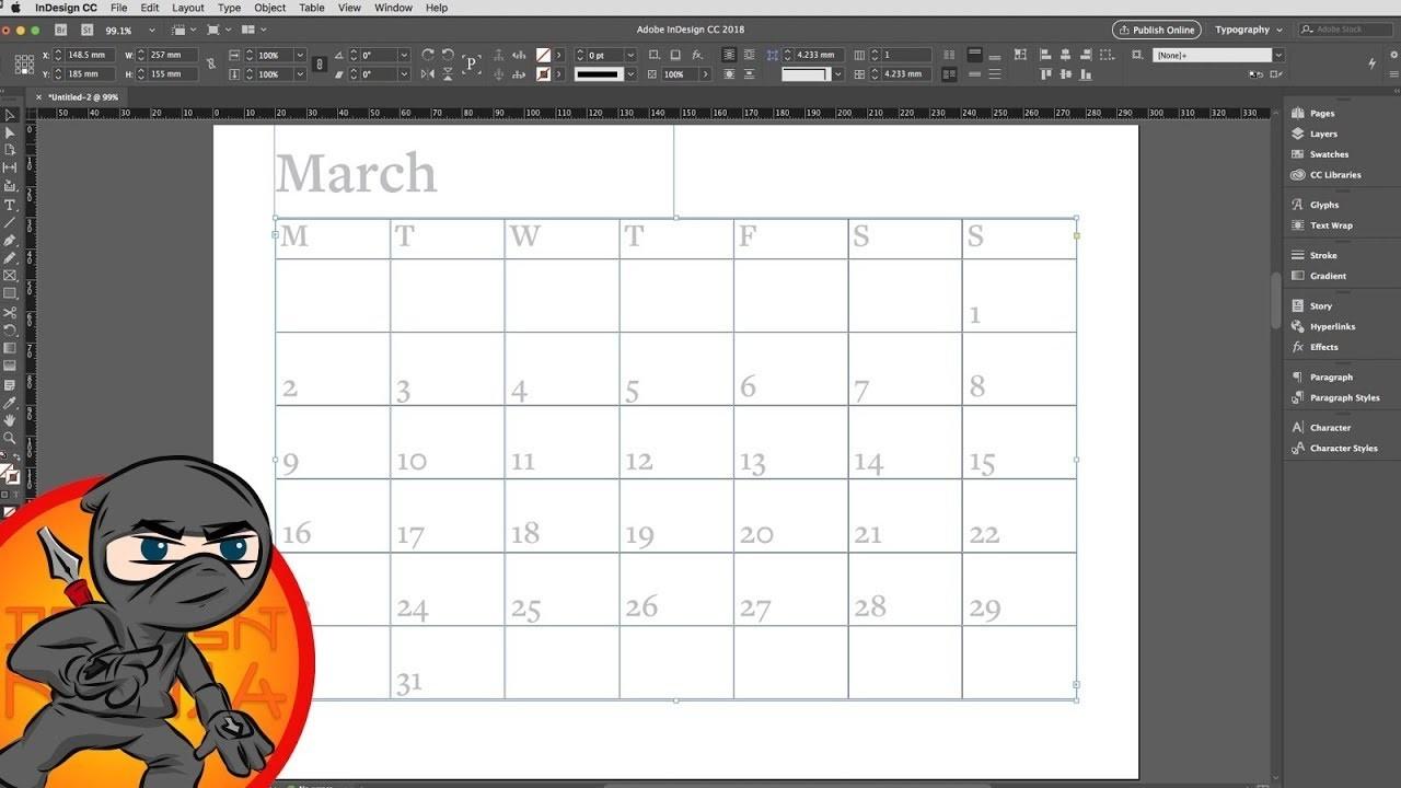 Make A Calendar Layout In Indesign-2020 Calendar Template Indesign
