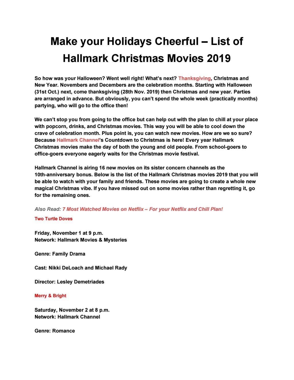 Make Your Holidays Cheerful – List Of Hallmark Christmas-What Are Hallmark Holidays