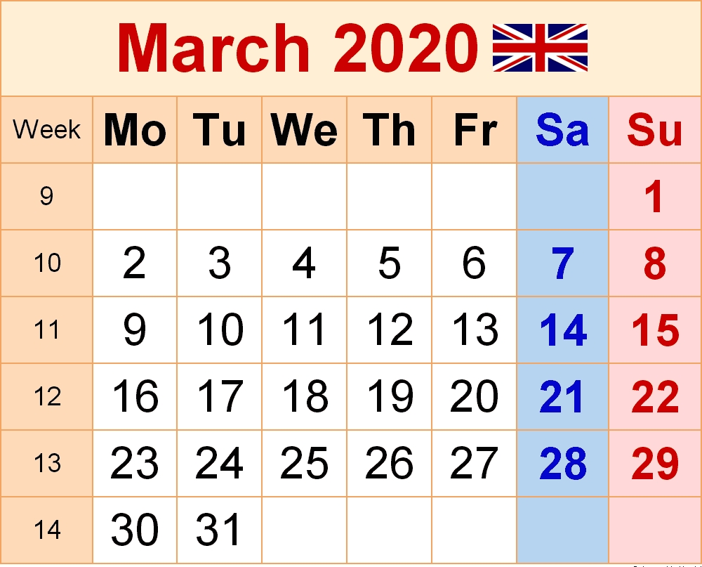 March 2020 Holidays Calendar Usa, Uk, Canada, India-2020 Uk Monthly Calendar Uk