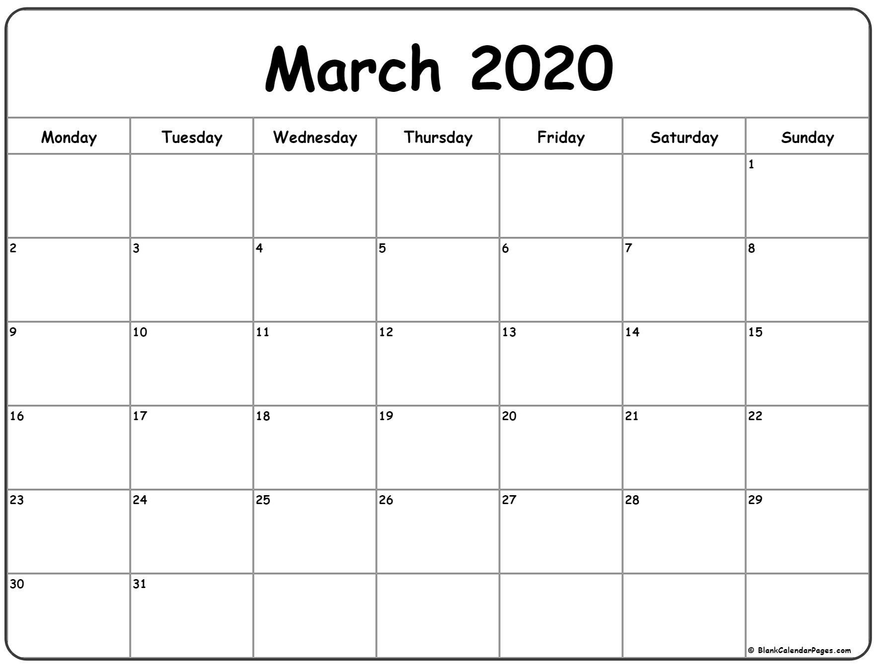 March 2020 Monday Calendar | Monday To Sunday-Monthly Calendar Template 2020 Printable Blank Starting Monday