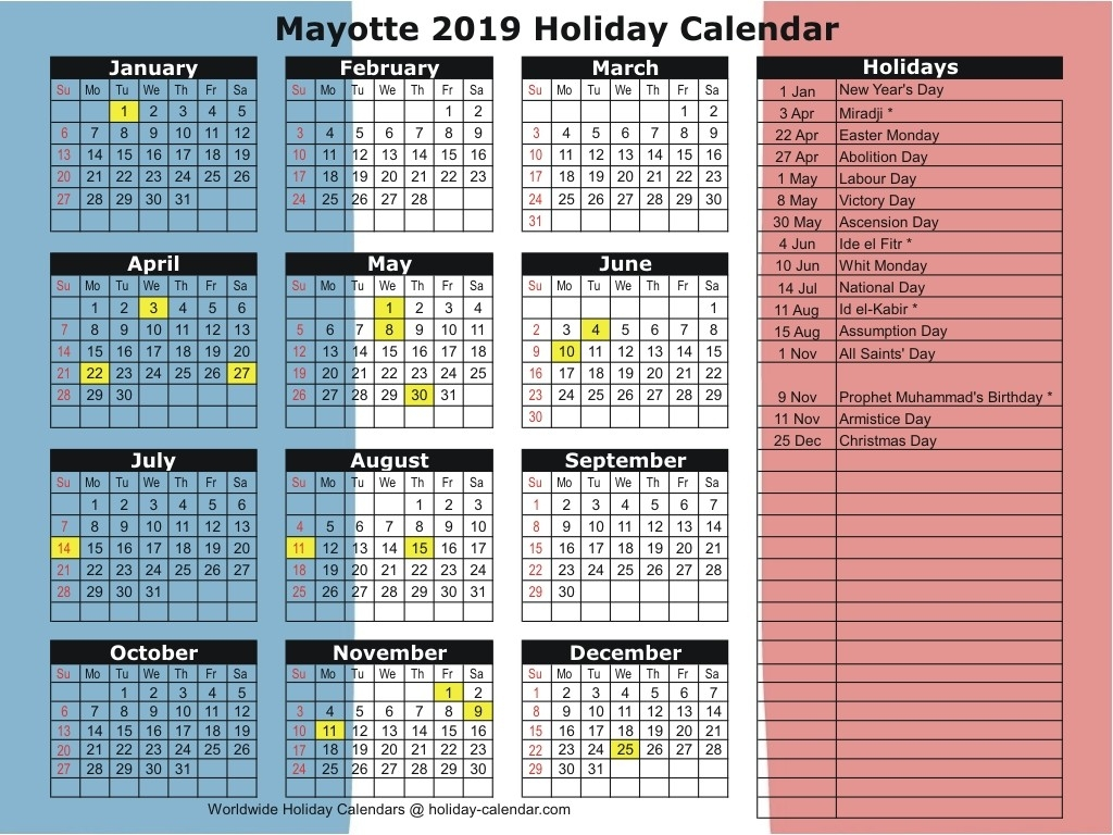 Mayotte 2019 / 2020 Holiday Calendar-Calender With Public Holidays