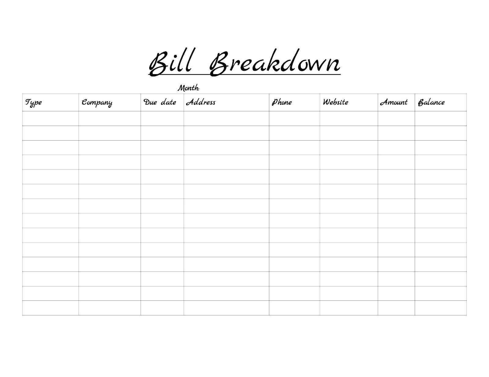 Monthly Bills Template Free - Monte-Monthly Bills Due List Printable