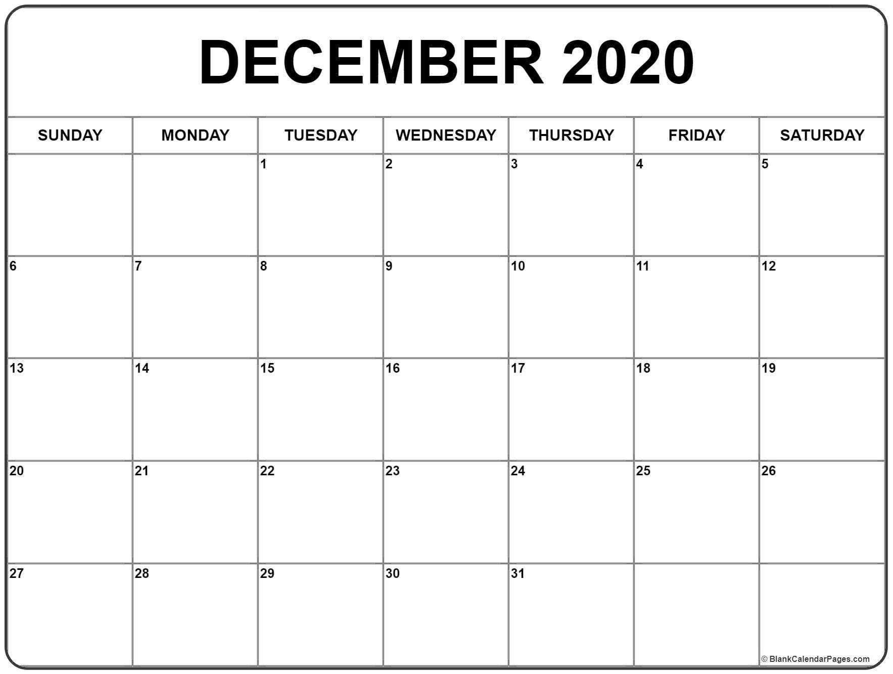 Monthly Calendar 2020 December - Remar-January Thru December 2020 Printable Monthly Calendar