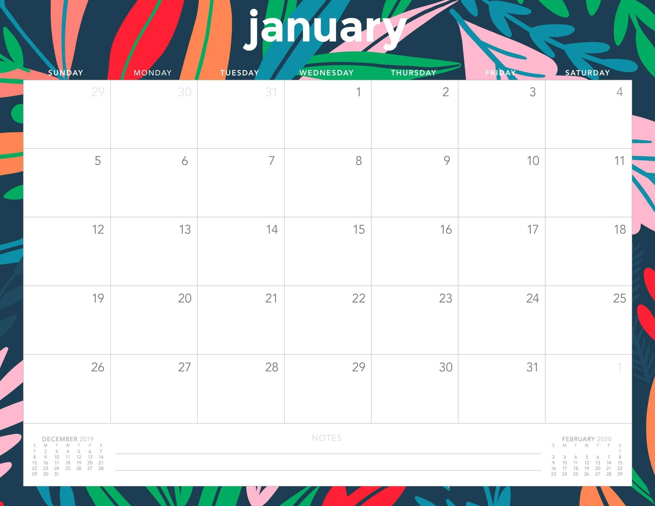 Monthly Calendar For January 2020 Template - Set Your Plan-Pretty Monthly Calendar 2020/2020