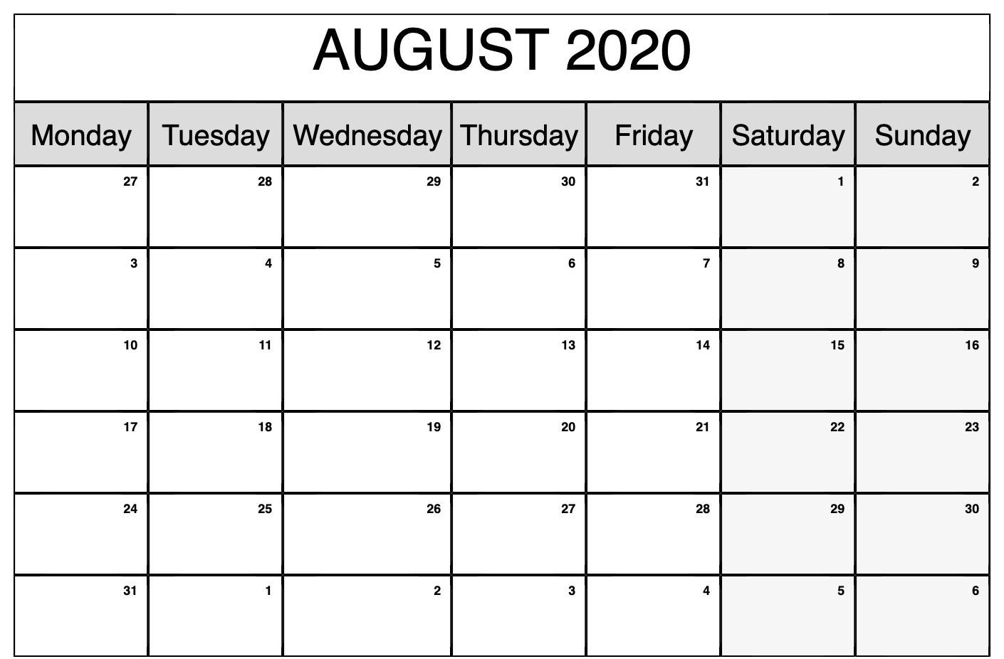 Monthly Calendar Template August 2020 | Monthly Calendars-Monthly Calendar Monday To Friday