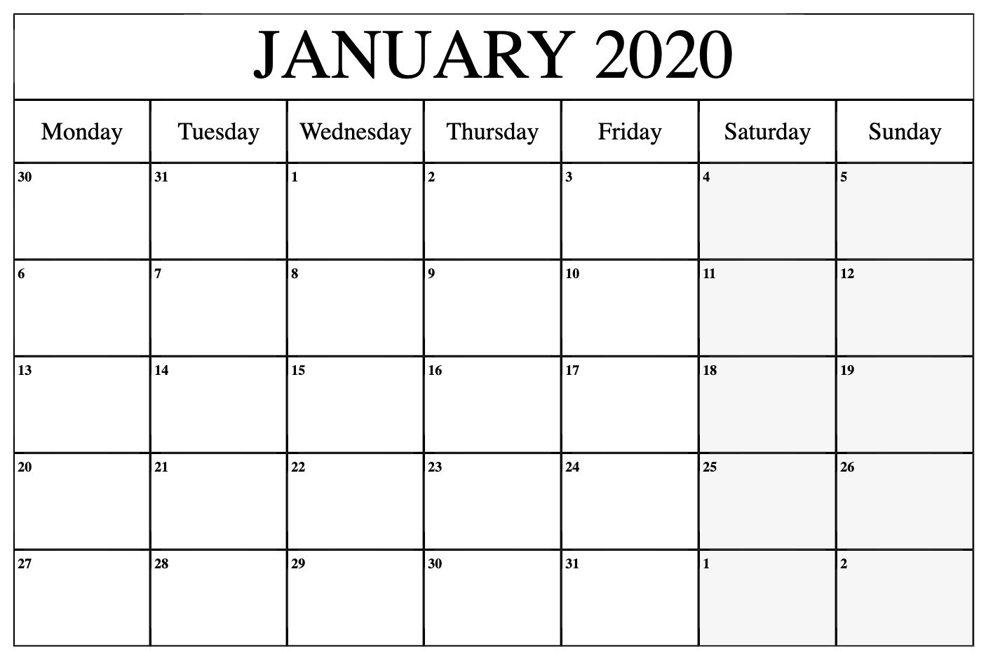 Monthly January 2020 Calendar Printable Pdf Word Excel-Blank 2020 Calendar Uk Printable