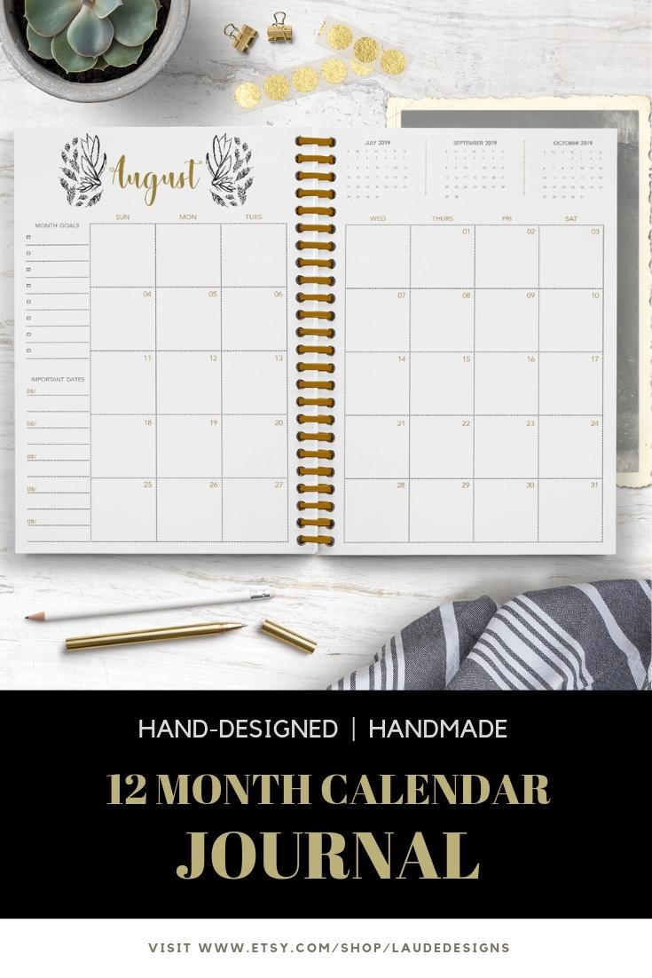 Moonlight Calendar Journal / Notebook / 2019 Monthly-Notebook With Monthly Calendar