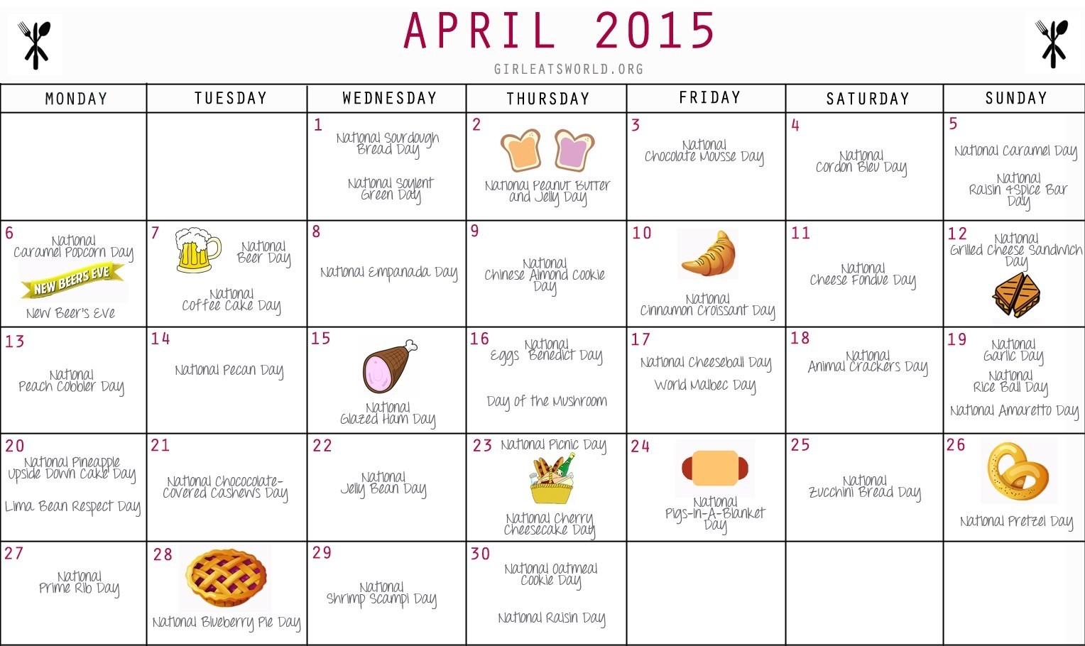 National Food Holidays April 2015 | Girl Eats World-Calender For Food Holidays