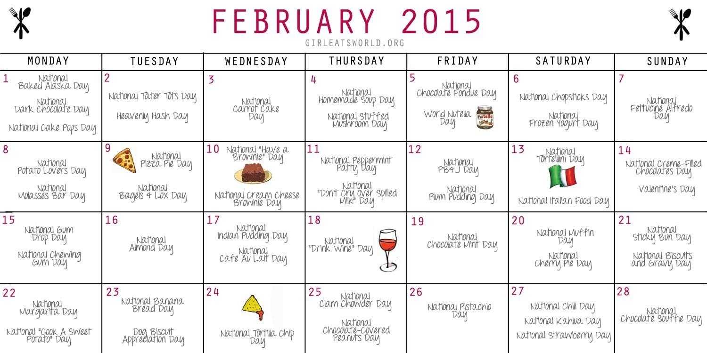 National Food Holidays February 2015 | Girl Eats World-Calendar With National Food Holidays