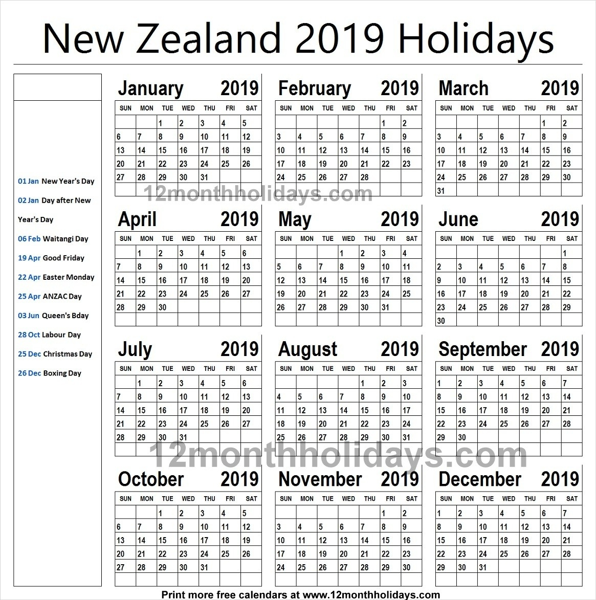 New Zealand School Holidays 2019 Calendar | New Zealand Calendar-School Holidays Nz Calendar